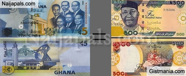 huh ghana cedis valuable than naira currently n500 is equivalent