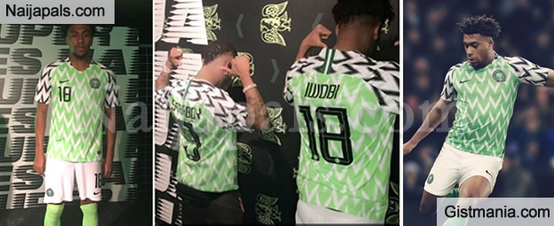 10d36e531d0 Wizkid Models The New Super Eagles Jersey For World Cup 2018 Alongside Alex  Iwobi (Photos) - Gistmania