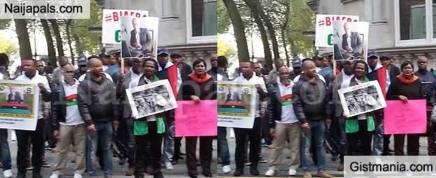 Breaking News: Biafra Protesters Storm Westminster As Buhari