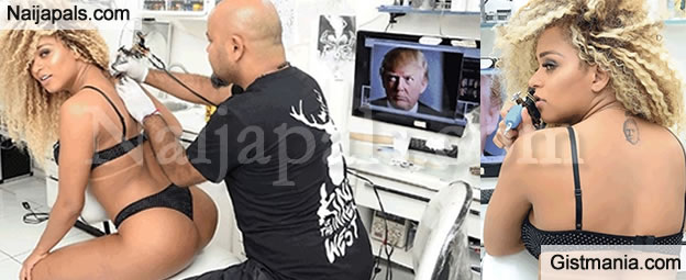 Brazilian Booty Queen Erika Canela Who Is Currently The 2016 Miss Bumbum Has Been Captured On Camera Getting Donald Trumps Face Tattooed On Her Back
