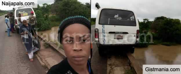 SHOCKING !!!: Passengers Survive After Bus Almost Fell Into River As It Veered Of The Bridge In Edo State (Photos)