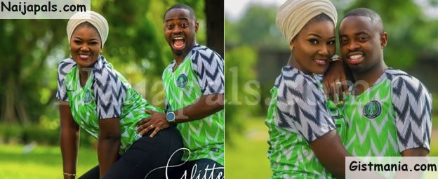 c46d077baab Beautiful Couple Rocks Super Eagles Jersey In Doggy Pre-Wedding Photos