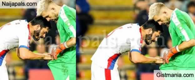 8d8c3380036 Crystal Palace defender James Tomkins was on Saturday pictured looking down  his goalkeeper Vicente Guaita s shorts during his side s 4-1 victory away  to ...