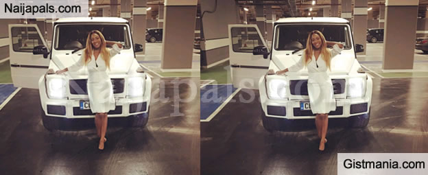 Billionaire Femi Otedolas Daughter DJ Cuppy Got A Gwagon As Her 24th Birthday Gift From Boyfriend Victor Anichebe She Shared The Above Photo Posed