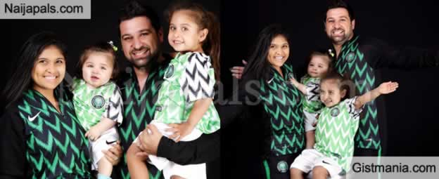 d0f461a63 Below are photos showing an Oyinbo couple and their kids rocking the Super  Eagles kits for Russia 2018 world cup. The kits have been named the best  for the ...