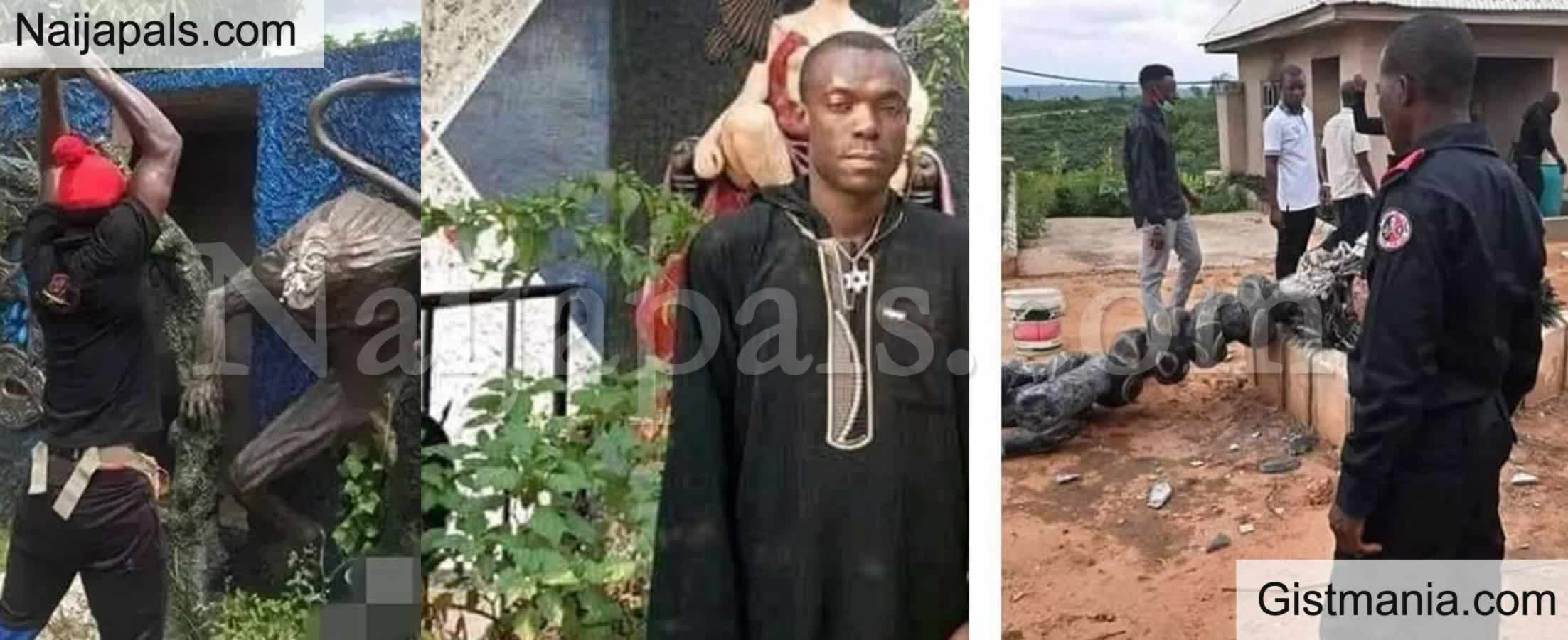 <img alt='.' class='lazyload' data-src='https://img.gistmania.com/emot/photo.png' /> PHOTOS: <b>Church Of Satan In Abia State Destroyed, Founder Reportedly Arrested</b>