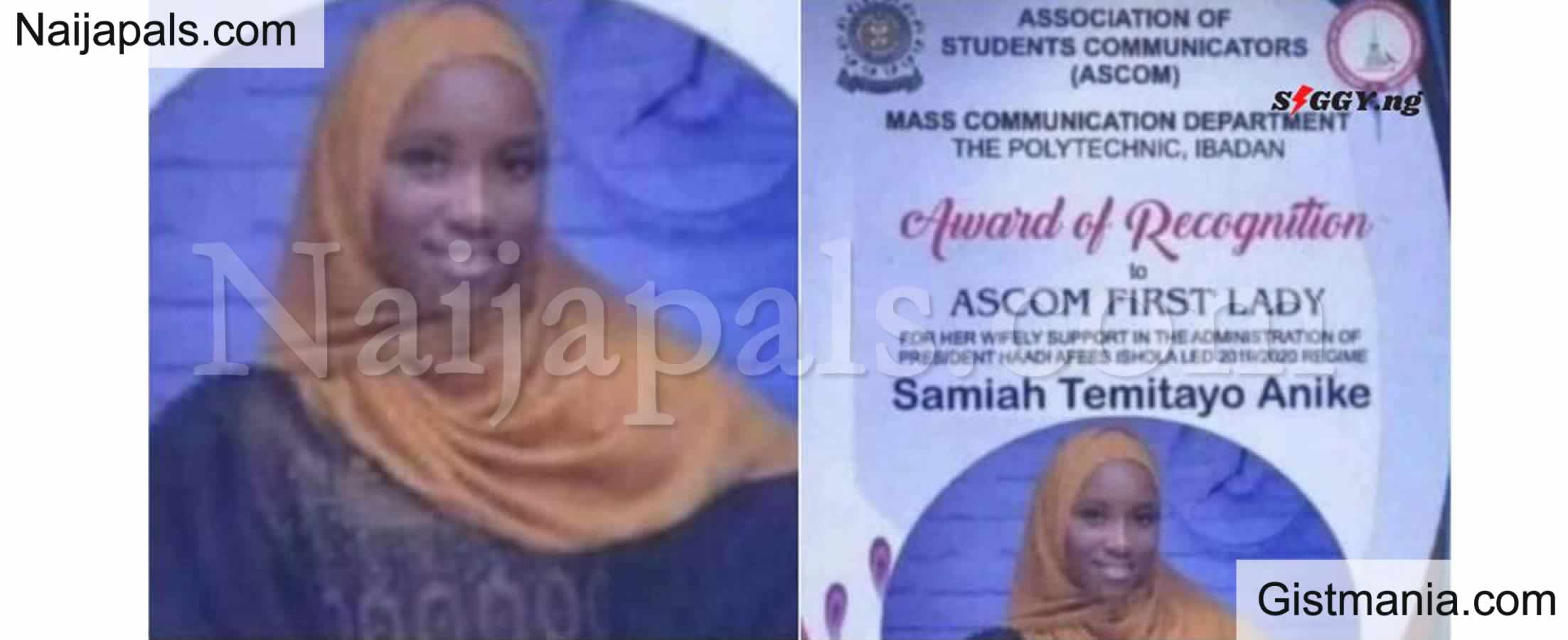 <img alt='.' class='lazyload' data-src='https://img.gistmania.com/emot/comment.gif' /> <b>Ibadan Poly Students Association Gives Award to President's Girlfriend For Her Wifely Support</b>