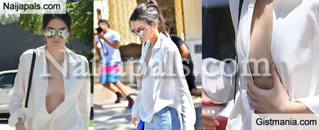 Photos Kendall Jenner Goes Braless As She Almost Suffer A Nip Slip