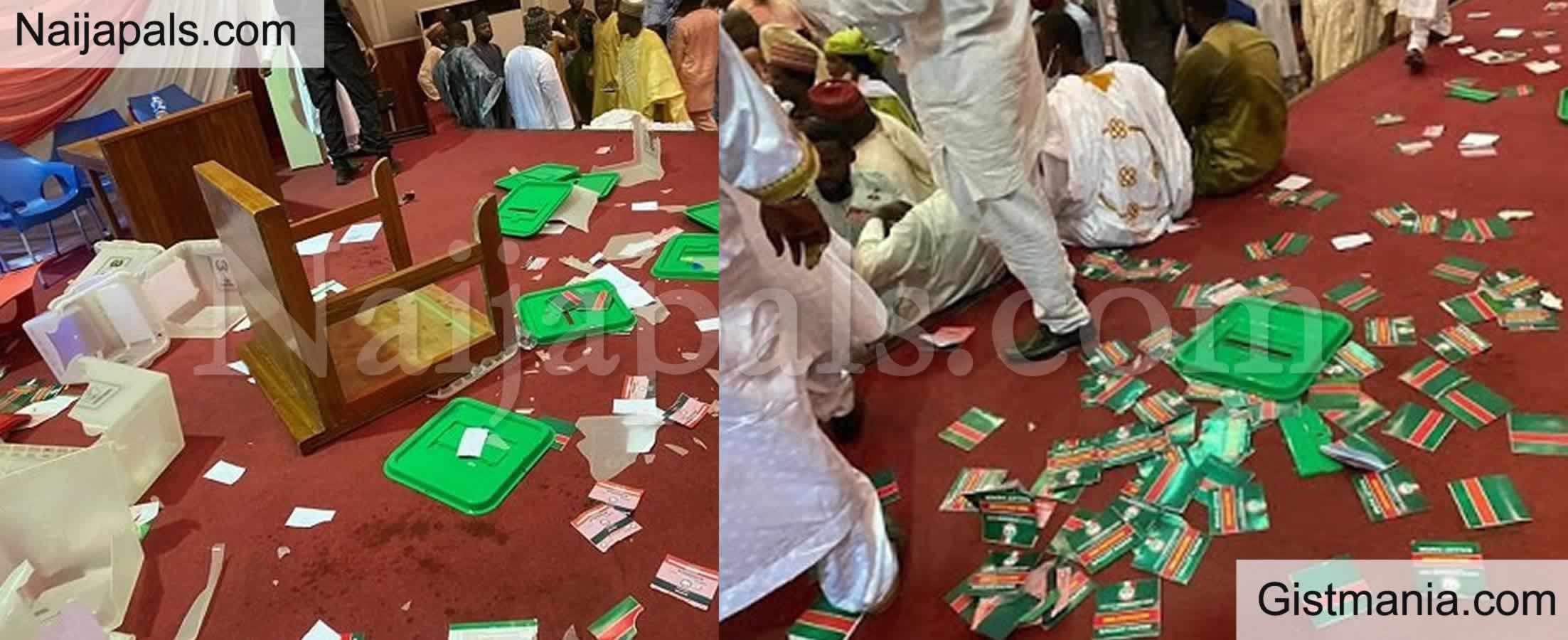 <img alt='.' class='lazyload' data-src='https://img.gistmania.com/emot/comment.gif' /> <b>Political Thugs Disrupt PDP North West Congress In Kaduna</b> (Photos)