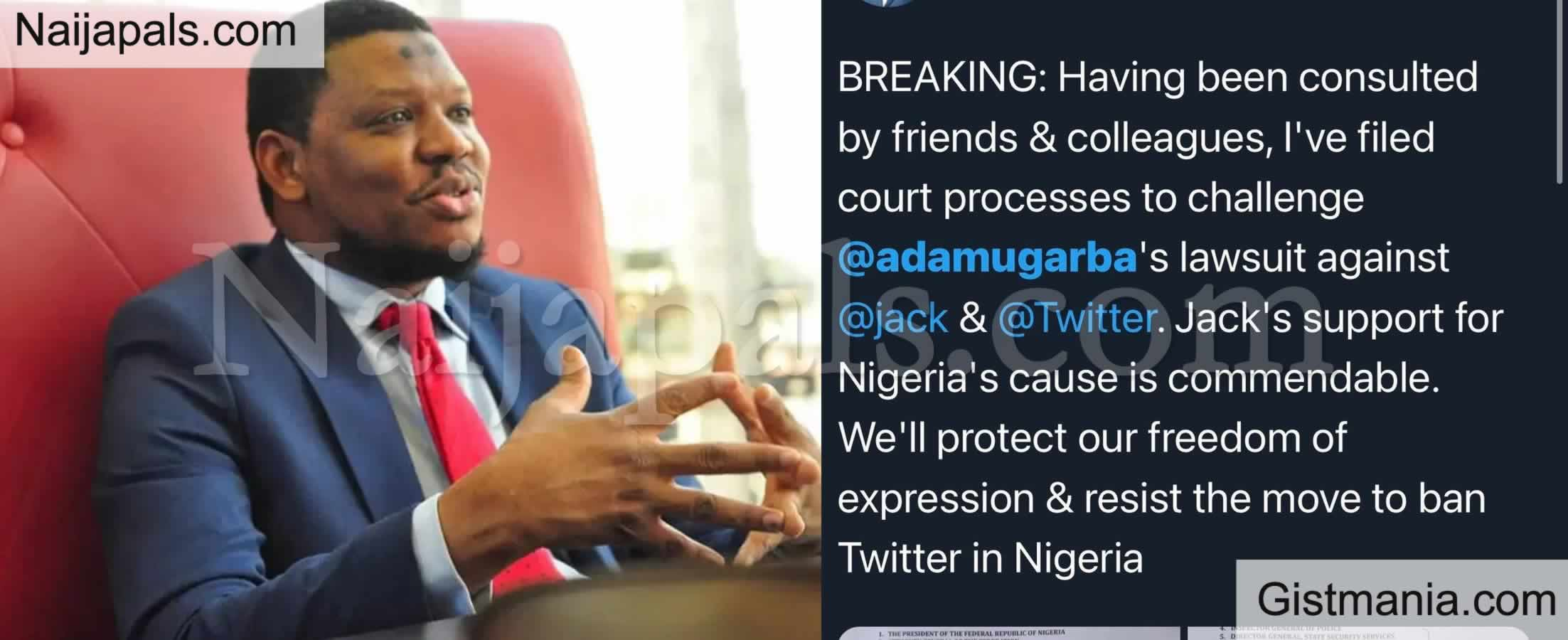 <img alt='.' class='lazyload' data-src='https://img.gistmania.com/emot/news.gif' /> <b>Former Presidential Aspirant Adamu Garba Slammed By Lawsuit For Suing Twitter CEO Jack Dorsey</b>