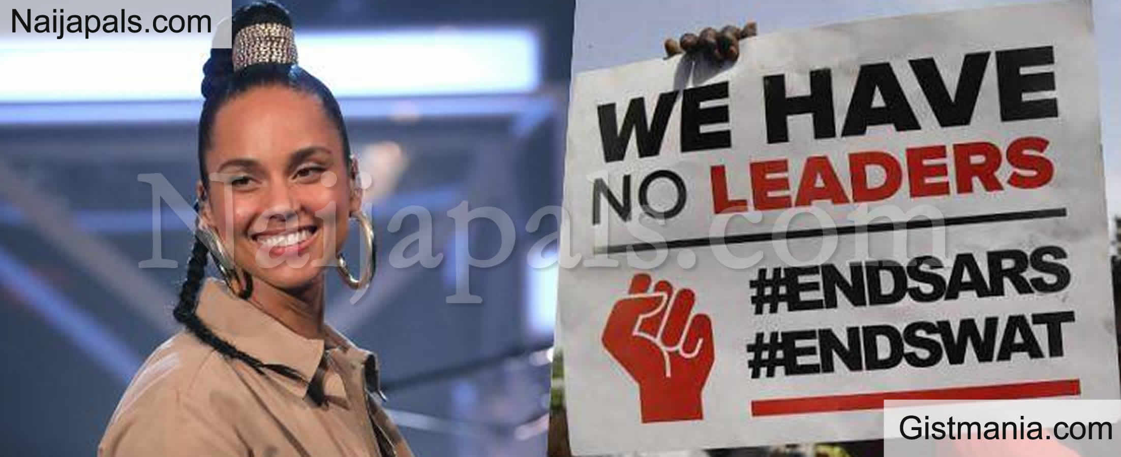 <img alt='.' class='lazyload' data-src='https://img.gistmania.com/emot/comment.gif' /><b> U.S Singer, Alicia Keys Lends Her Voice On #ENDSARS Protest, Tells Nigerians Never To Give Up</b>