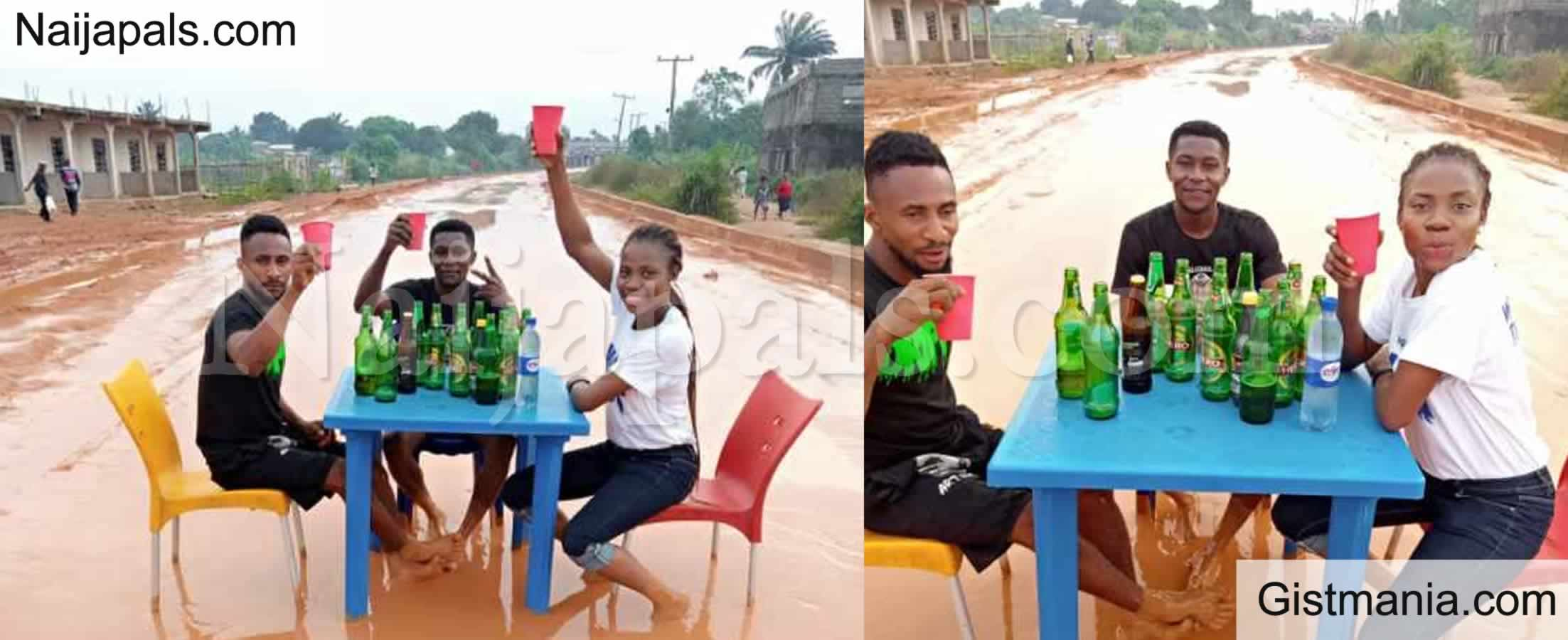 <img alt='.' class='lazyload' data-src='https://img.gistmania.com/emot/shocked.gif' /> <b>The Deplorable State Of The Road In Owerri, Friends Drink Beer On It To Call For Govt Attention</b>