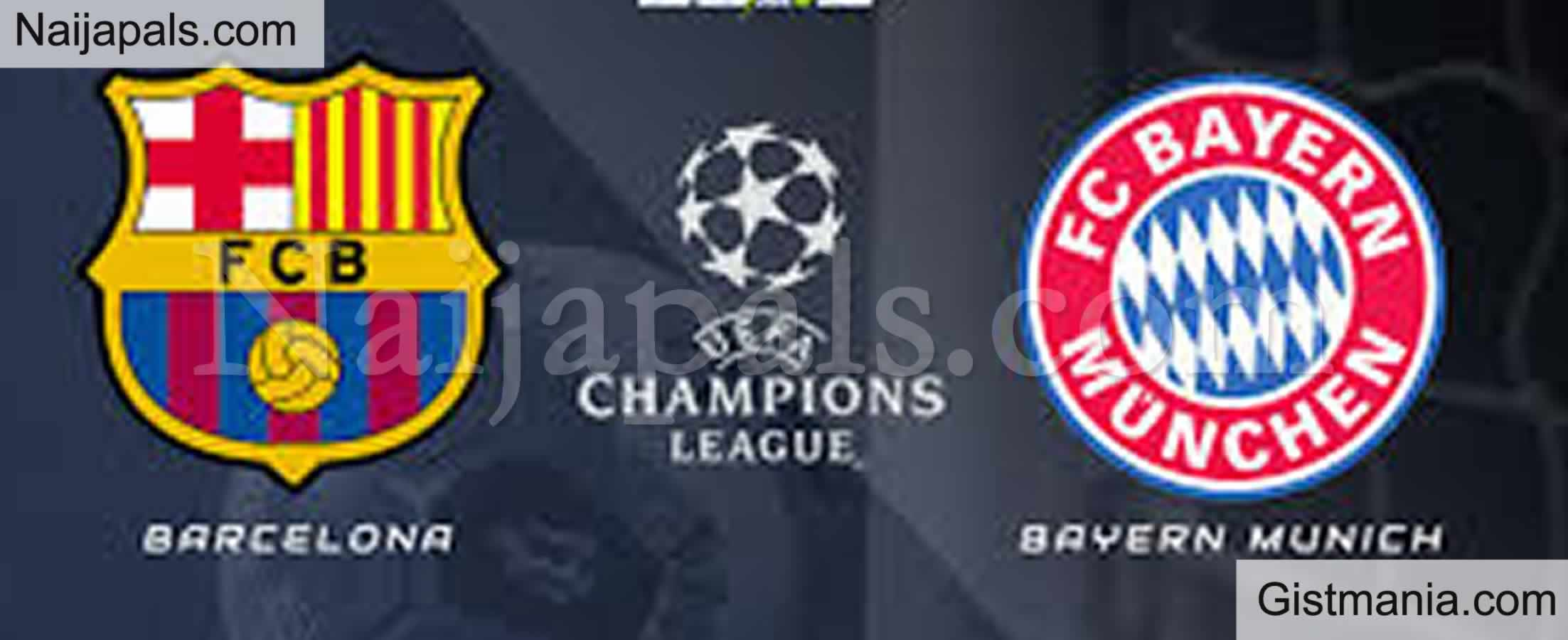 <img alt='.' class='lazyload' data-src='https://img.gistmania.com/emot/soccer.gif' /> <b>Barcelona v Bayern Munich : UEFA Champions League Match, Team News, Goal Scorers and Stats</b>