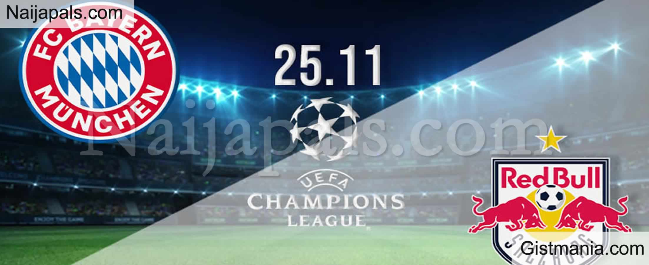 <img alt='.' class='lazyload' data-src='https://img.gistmania.com/emot/soccer.gif' /> <b>Bayern Munich v RB Salzburg : UEFA Champions League Match, Team News, Goal Scorers and Stats</b>