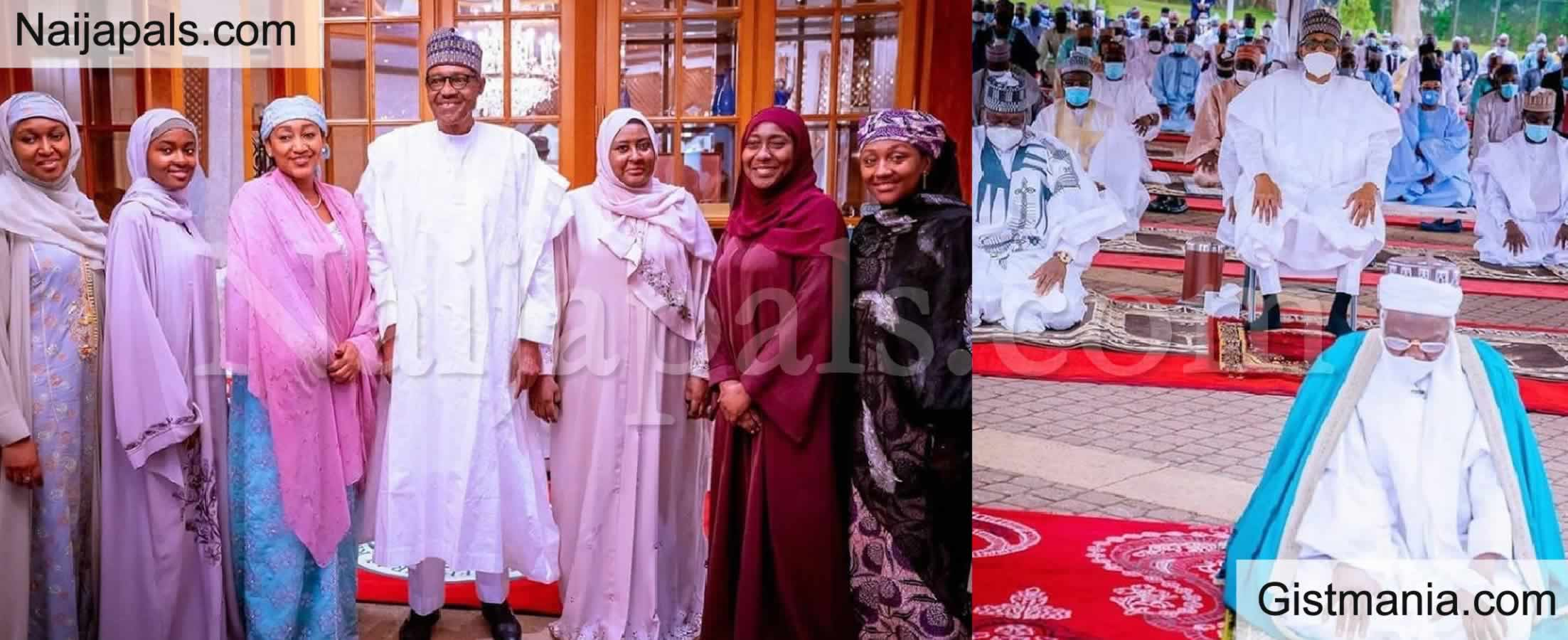 <img alt='.' class='lazyload' data-src='https://img.gistmania.com/emot/photo.png' /> Photos: <b>President Buhari, His Wife and Children Observe Eid El Filtri in Aso Rock</b>