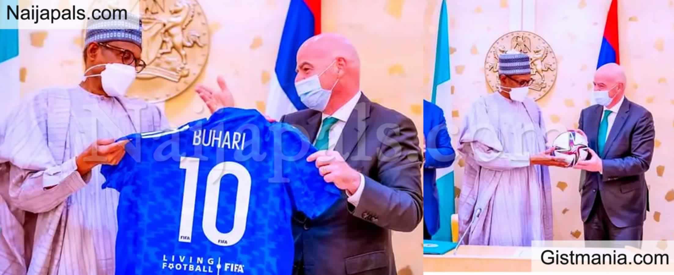 <img alt='.' class='lazyload' data-src='https://img.gistmania.com/emot/photo.png' /> Photos Of <b>FIFA President Presenting No 10 Jersey To Buhari</b>