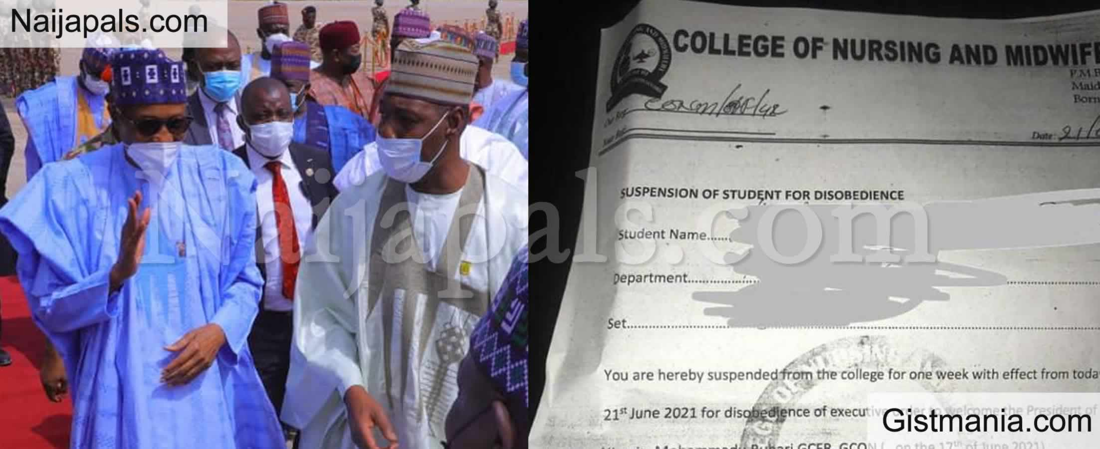 <img alt='.' class='lazyload' data-src='https://img.gistmania.com/emot/news.gif' /> <b>Nursing Student Suspended For Not Welcoming President Buhari During His Visit to Borno</b>