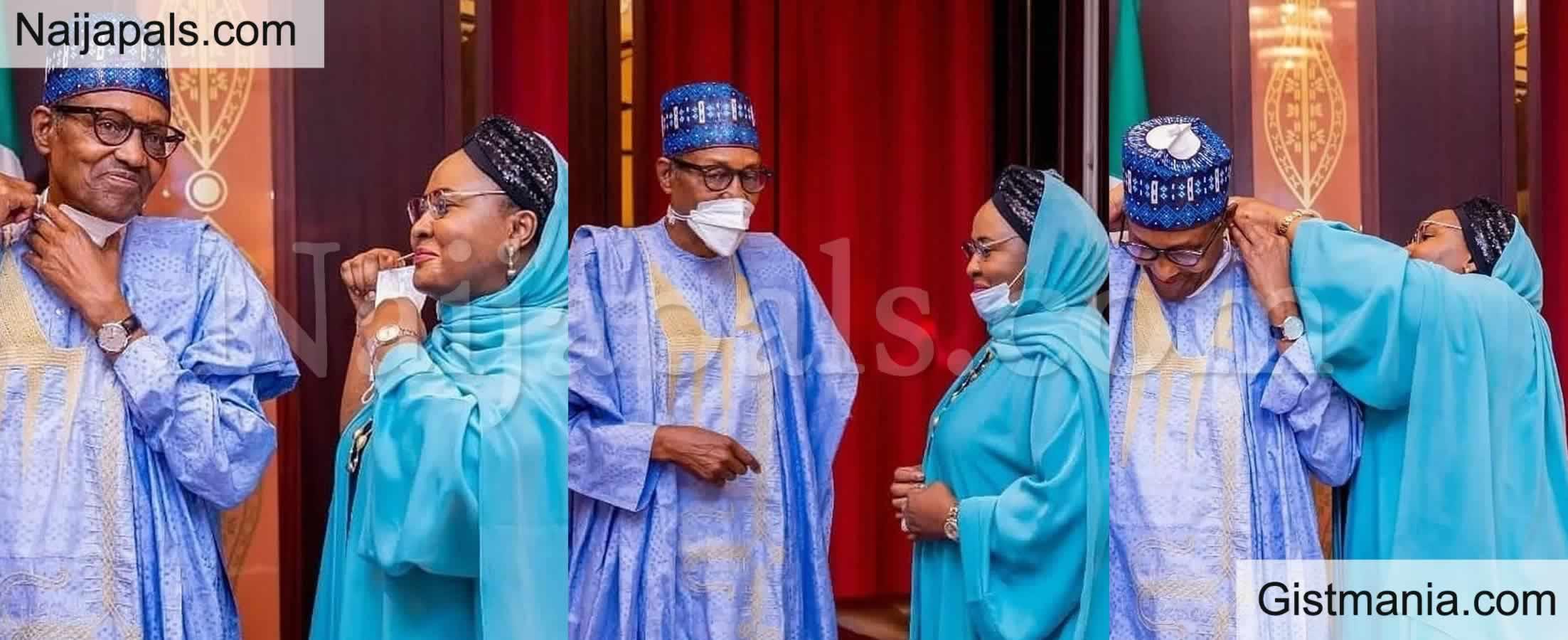 <img alt='.' class='lazyload' data-src='https://img.gistmania.com/emot/comment.gif' /> Presidential Love: <b>Buhari Shares Lovely Photo with Wife, Aisha</b>