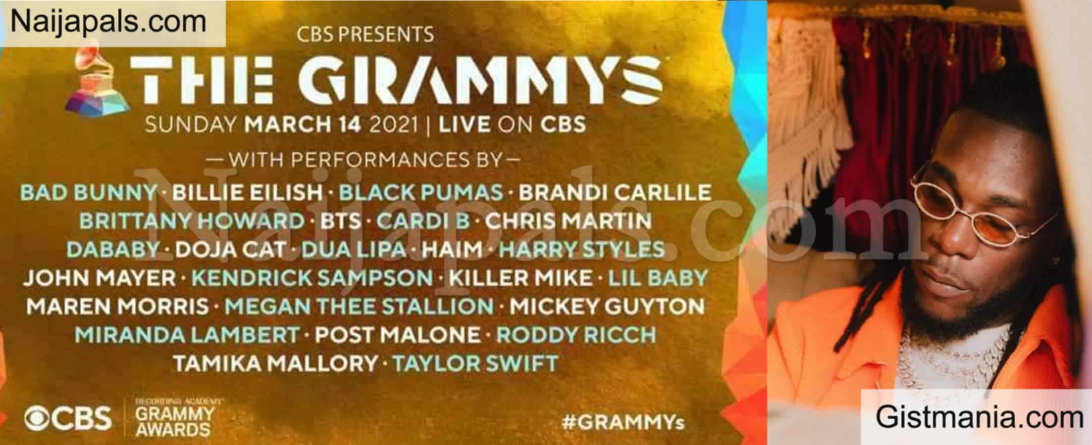 <img alt='.' class='lazyload' data-src='https://img.gistmania.com/emot/comment.gif' /> Fans React As <b>Burna Boy's Name Is Omitted In The List Of Artist Performing At 2021 Grammy</b>