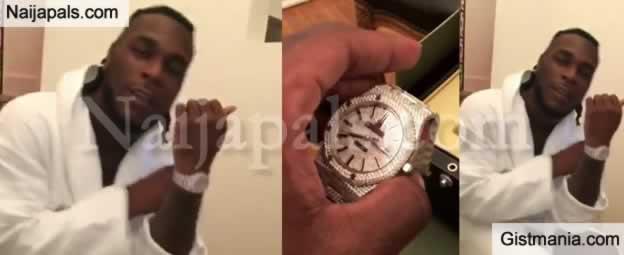 Burna Boy Shows Off His New $65k Diamond-Encrusted Audemars