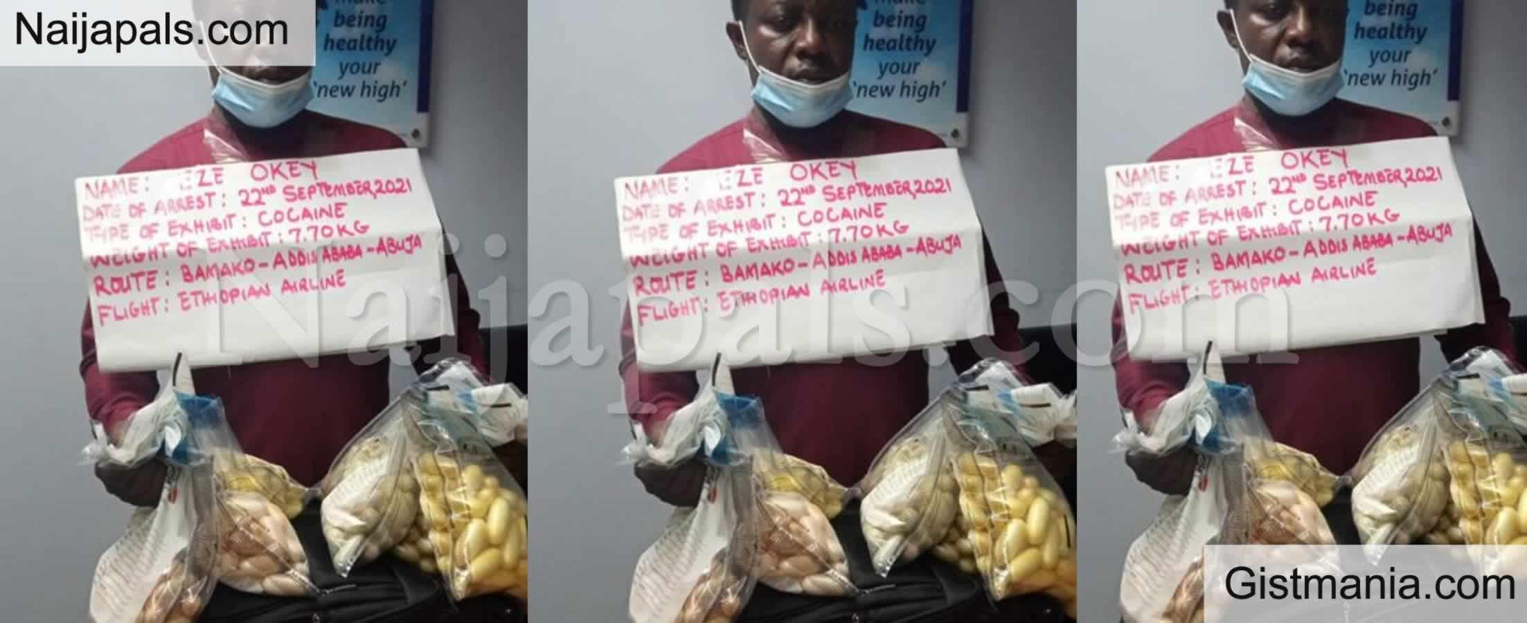 <img alt='.' class='lazyload' data-src='https://img.gistmania.com/emot/comment.gif' /> <b>NDLEA Burst Nigerian Drug Trafficker, Okey Eze With 350 Wraps Of Cocaine Worth N2,3B In Abuja</b>