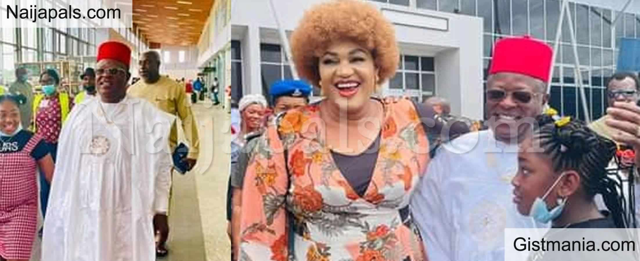 <img alt='.' class='lazyload' data-src='https://img.gistmania.com/emot/comment.gif' /> <b>Gov. David Umahi Welcomes Wife, Rachel At Enugu Airport After Vacation Outside The Country</b>