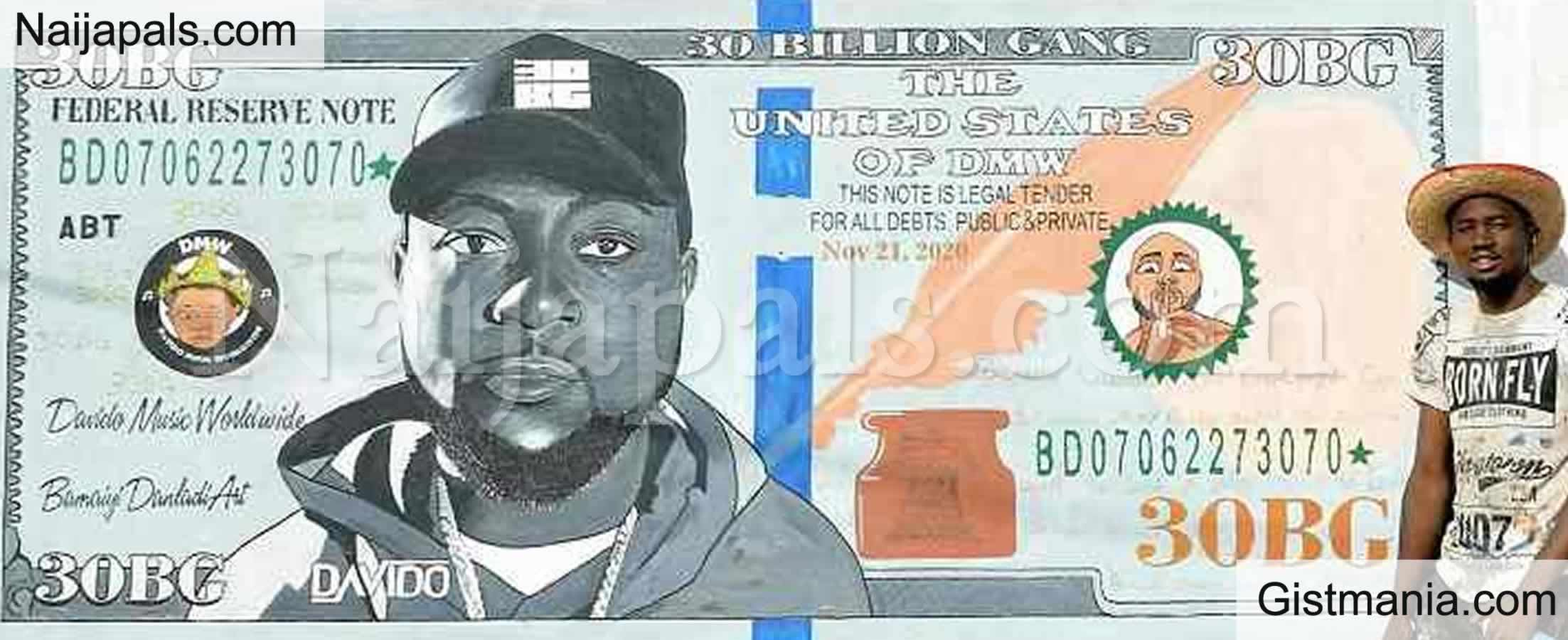 <img alt='.' class='lazyload' data-src='https://img.gistmania.com/emot/thumbs_up.gif' /> <b>Davido Reacts After An Artist Portrayed His Face on a Dollar Note</b> (Photos)