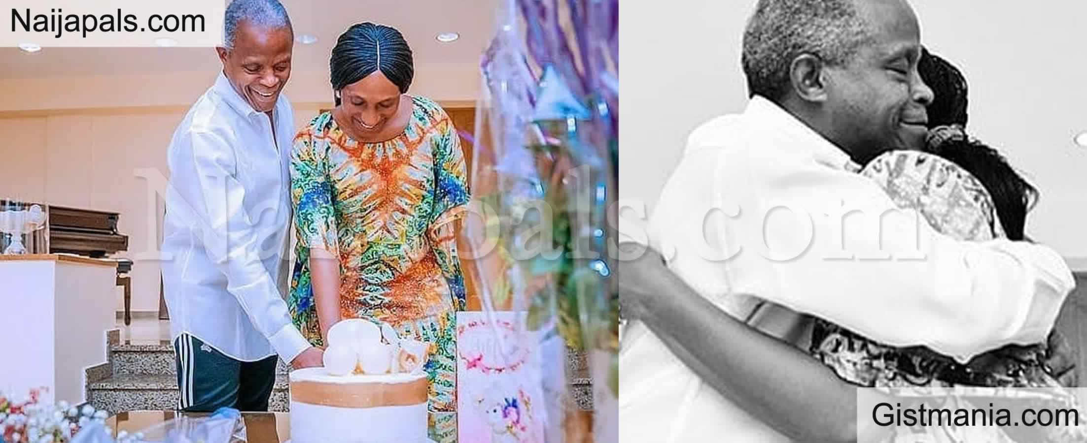 <img alt='.' class='lazyload' data-src='https://img.gistmania.com/emot/love.gif' /> PHOTOS: <b>VP, Yemi Osinbajo Joins His Wife Dolapo To Mark Her 53rd Birthday At The Villa</b>