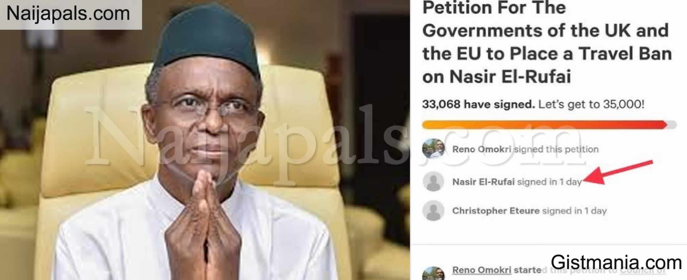<img alt='.' class='lazyload' data-src='https://img.gistmania.com/emot/shocked.gif' /> BUSTED! <b>El-Rufai Caught Spying As Almost 45,000 Sign Petition For EU/UK To Travel Ban El-Rufai</b>