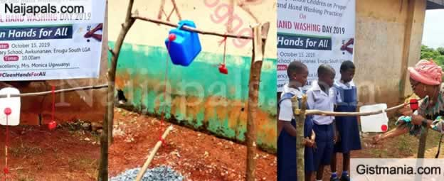 Lol! See Tippy Tap Constructed By Enugu First Lady For Primary Schools To Aid Hand Washing (Photo)