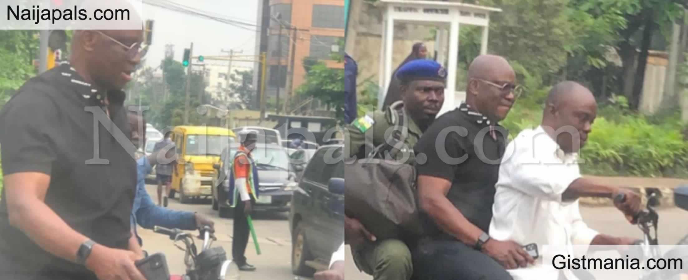 <img alt='.' class='lazyload' data-src='https://img.gistmania.com/emot/shocked.gif' /> PICS: <b>Outrage As Ex Ekiti Gov. Fayose Rides On Okada To Escape Lagos Traffic</b>