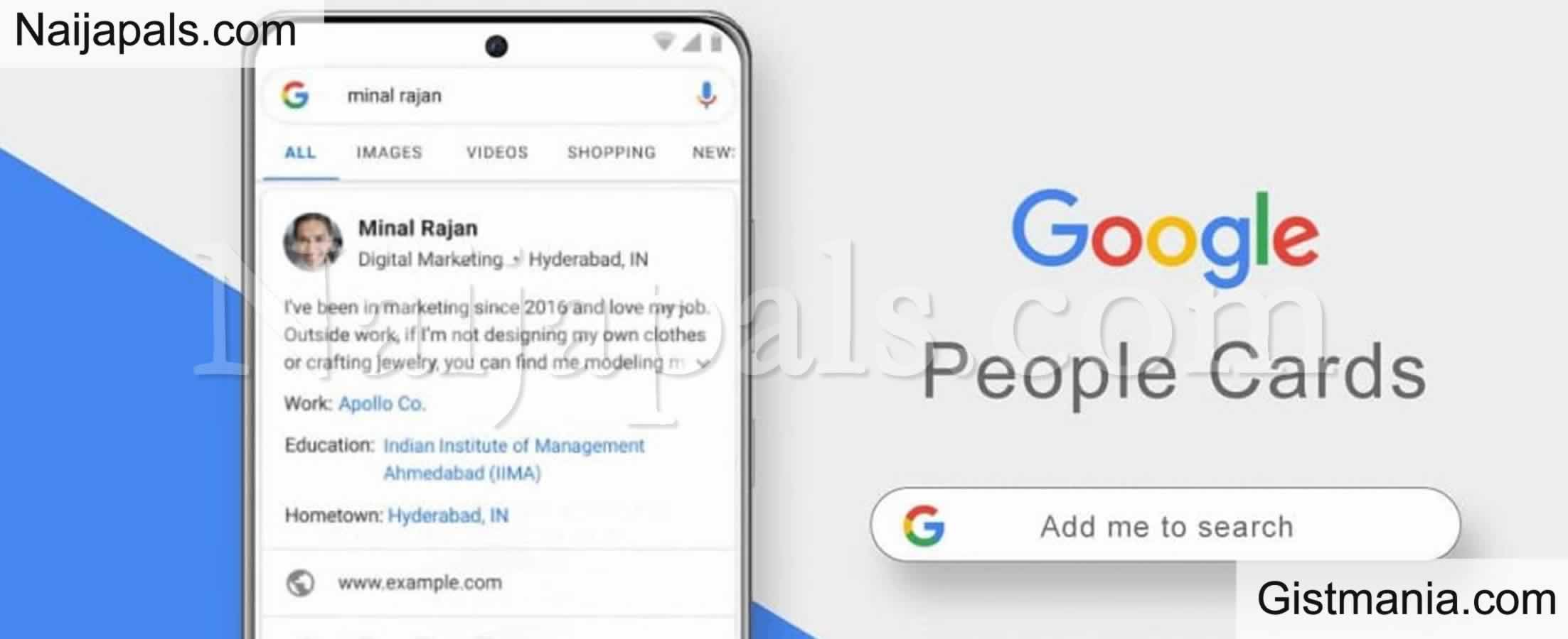 <img alt='.' class='lazyload' data-src='https://img.gistmania.com/emot/thumbs_up.gif' /> You Can Now Be Easily Discovered on Internet As <b>Google Introduces 'People Card'</b>