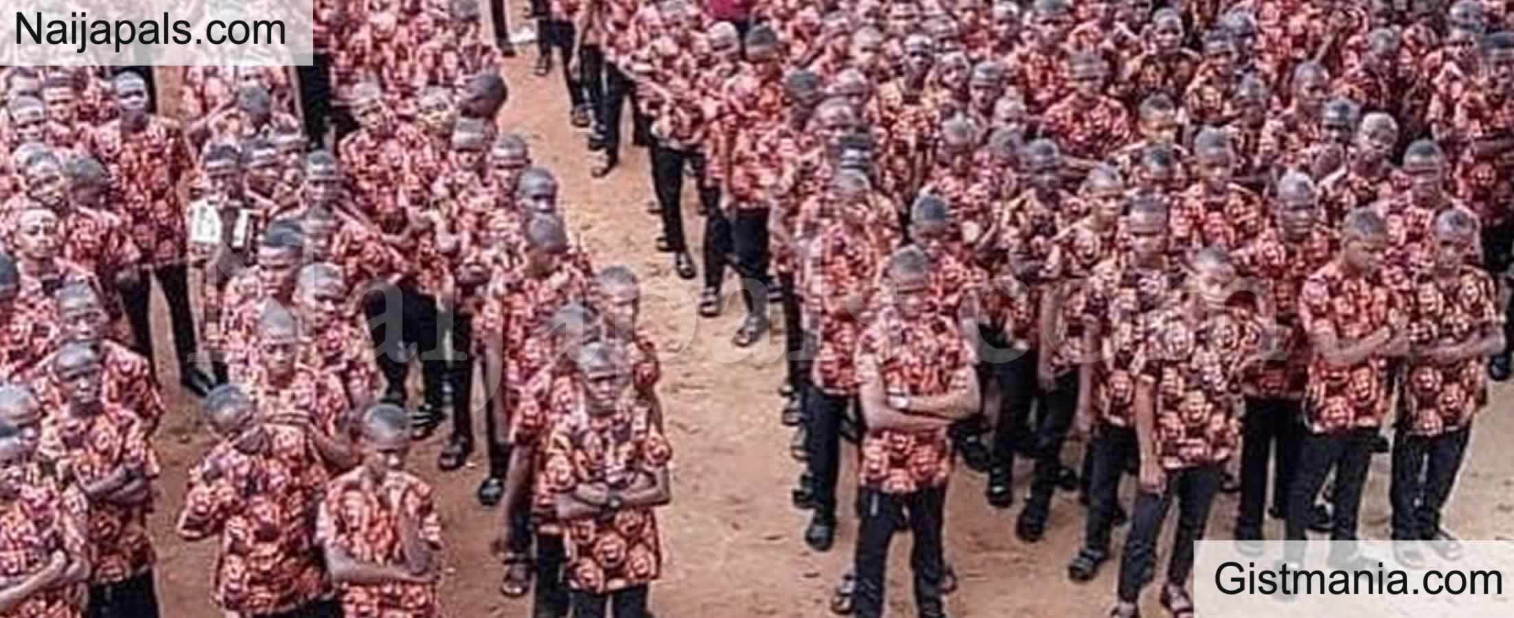 <img alt='.' class='lazyload' data-src='https://img.gistmania.com/emot/comment.gif' /> PHOTOS: <b>Anambra Students Dump Normal Uniform, Attend First Assembly in Native 'Isi-Agu' Attire</b>