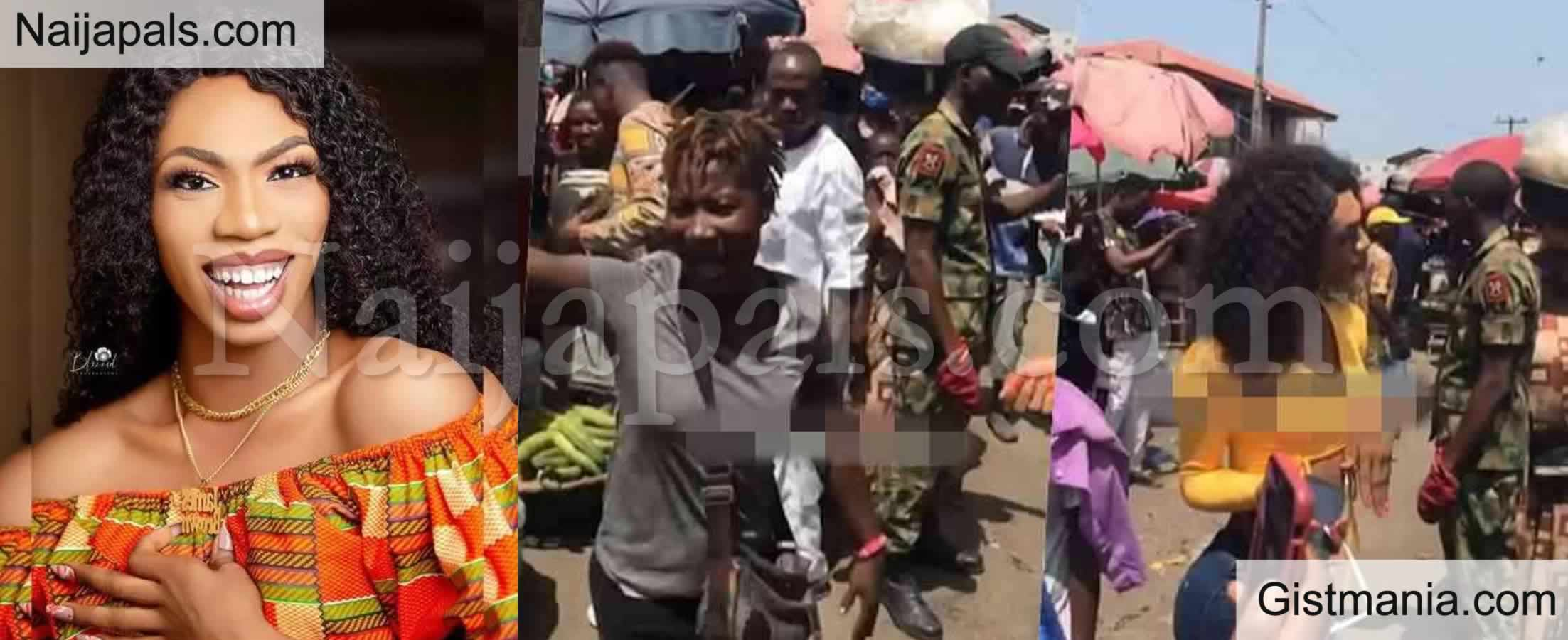 <img alt='.' class='lazyload' data-src='https://img.gistmania.com/emot/video.gif' /> VIDEO: <b>Nigerians React As Soldier Was Spotted Escorting Crossdresser James Brown to The Market</b>