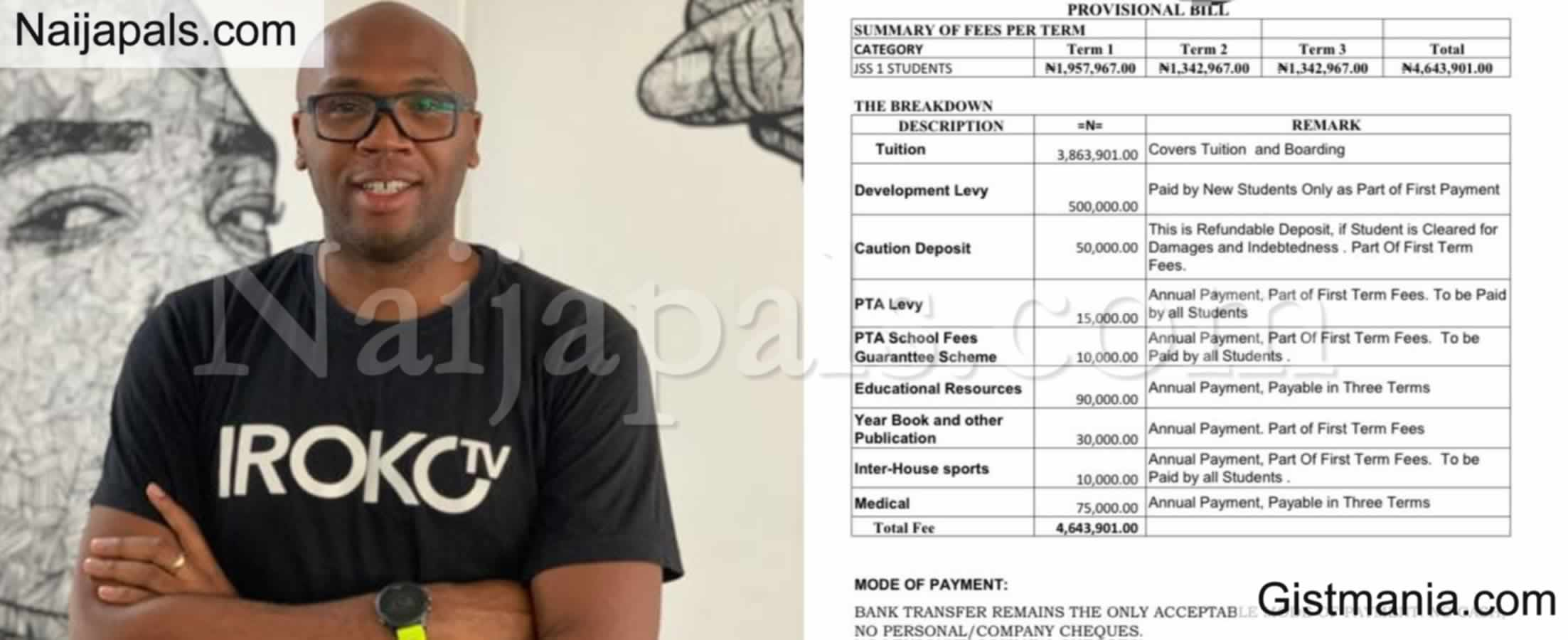 <img alt='.' class='lazyload' data-src='https://img.gistmania.com/emot/comment.gif' /> <b>iROKO TV boss, Jason Njoku Says He Pays Over  N4.6m For His 3 Year Old Child School Fees</b>