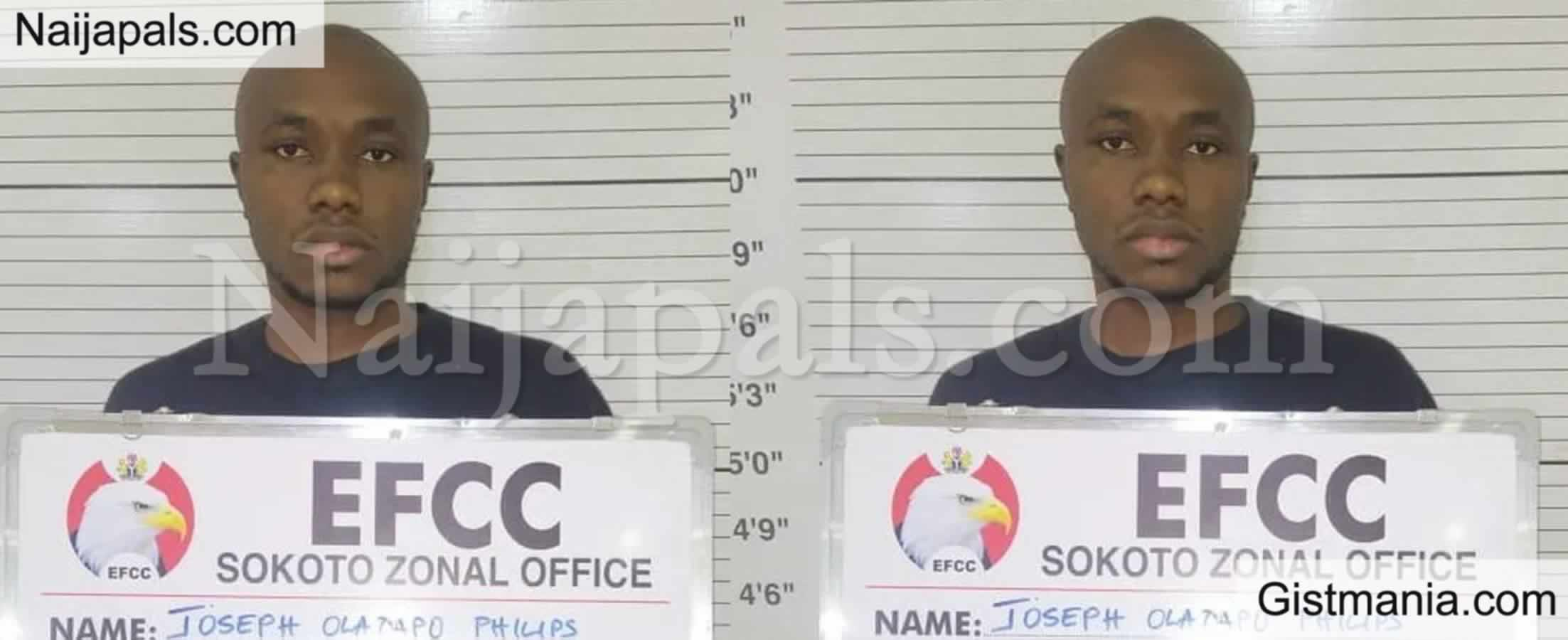 <img alt='.' class='lazyload' data-src='https://img.gistmania.com/emot/comment.gif' /> <b>Undergraduate Student Of Sokoto, Joseph Philip Sentenced To 10Yrs In Jail Over Cyber Crime</b>