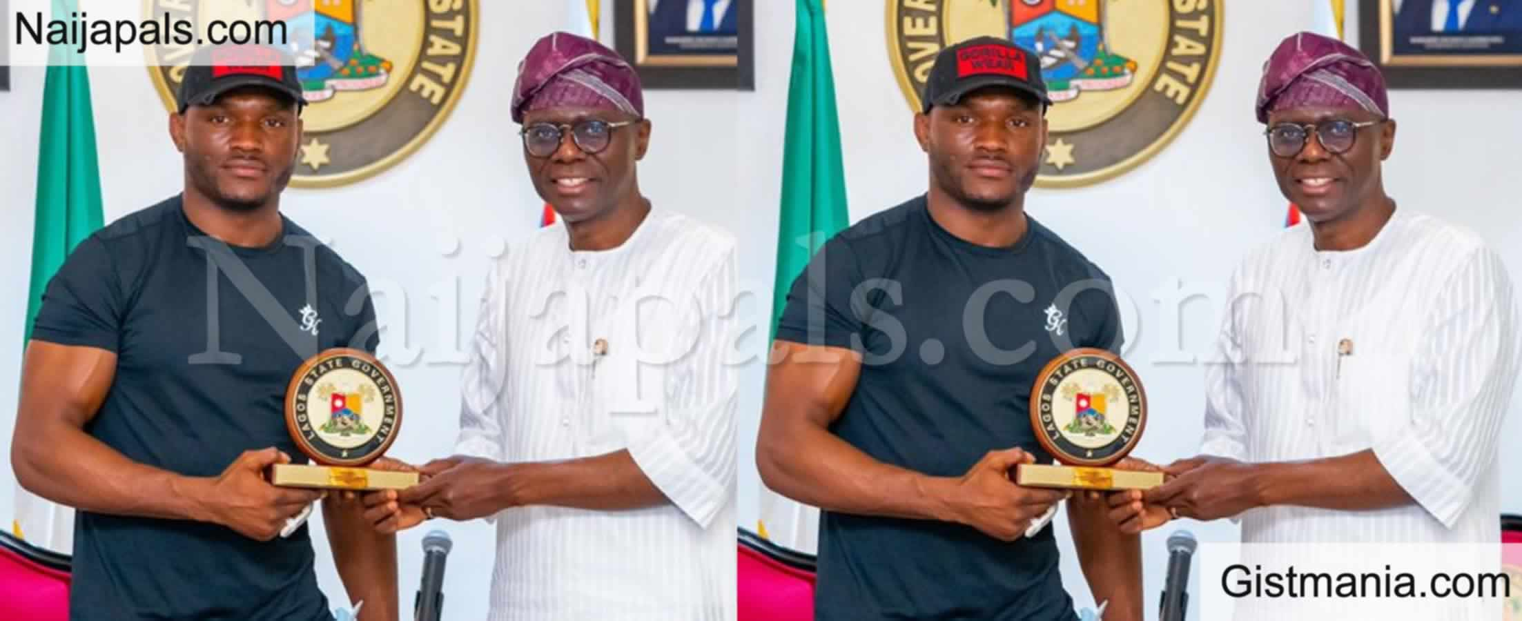 <img alt='.' class='lazyload' data-src='https://img.gistmania.com/emot/photo.png' /> PHOTOS: <b>Gov. Babajide Sanwo-Olu Receives UFC Welterweight Champion, Kamaru Usman In Lagos</b>