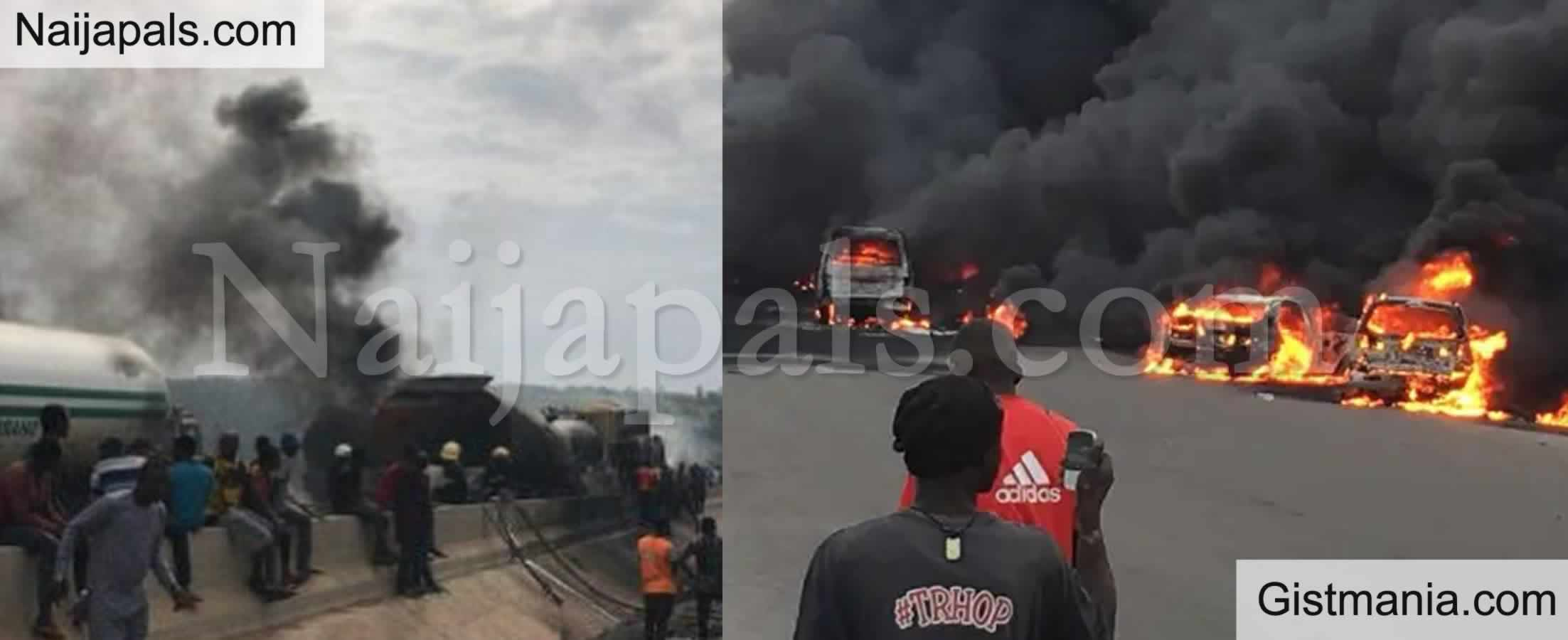 <img alt='.' class='lazyload' data-src='https://img.gistmania.com/emot/shocked.gif' /> VIDEO: <b>Many Vehicles Gutted By Fire as Tanker Explodes on Lagos/Ibadan Expressway</b>
