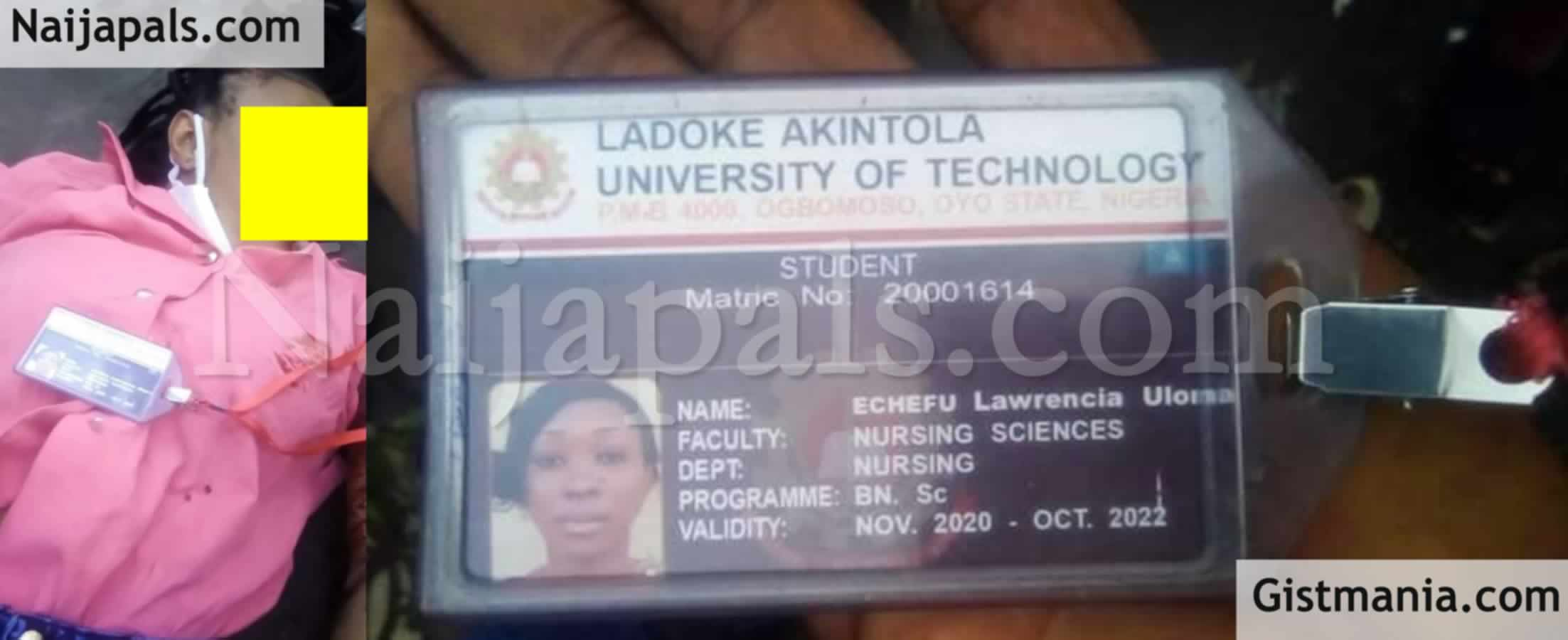 <img alt='.' class='lazyload' data-src='https://img.gistmania.com/emot/news.gif' /> <b>LAUTECH Female Student, Echefu Lawrencia Uloma Knocked Down By Hit-&-Run Driver In Lagos</b> (Photos)