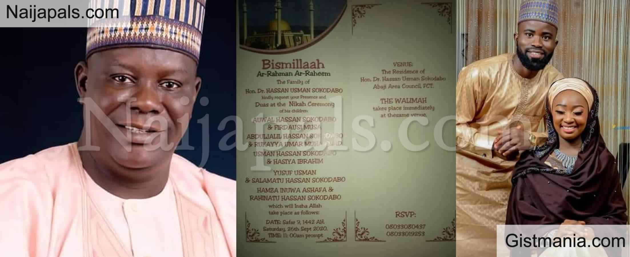 <img alt='.' class='lazyload' data-src='https://img.gistmania.com/emot/love.gif' /> <b>5 Children Of Nigerian Lawmaker, Hon. Dr Hassan Sokodabo Set To Wed On The Same Day In Abuja</b>