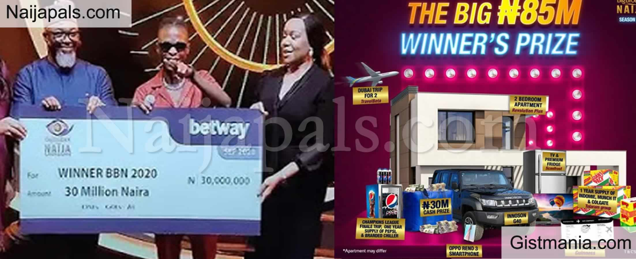 <img alt='.' class='lazyload' data-src='https://img.gistmania.com/emot/thumbs_up.gif' /> PHOTOS: <b>BBNaija Season 5 Winner, Laycon Presented With His Cash Gift, Car, House Key And More</b>