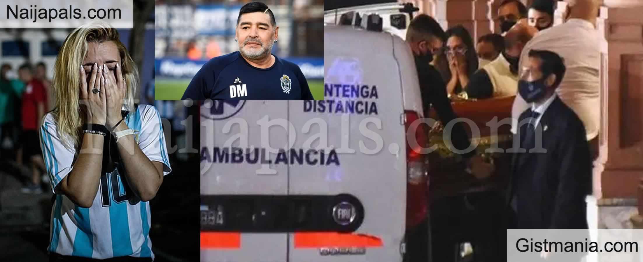 <img alt='.' class='lazyload' data-src='https://img.gistmania.com/emot/cry.gif' /> Weeping Crowd Gather As <b>Diego Maradona Body Arrives Argentinian President's Mansion</b> (Photos)