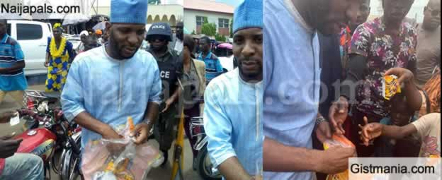 Photos: Kogi Governorship Race Candidate, Mustapha Audu Sharing Cheese Balls To People Of The State
