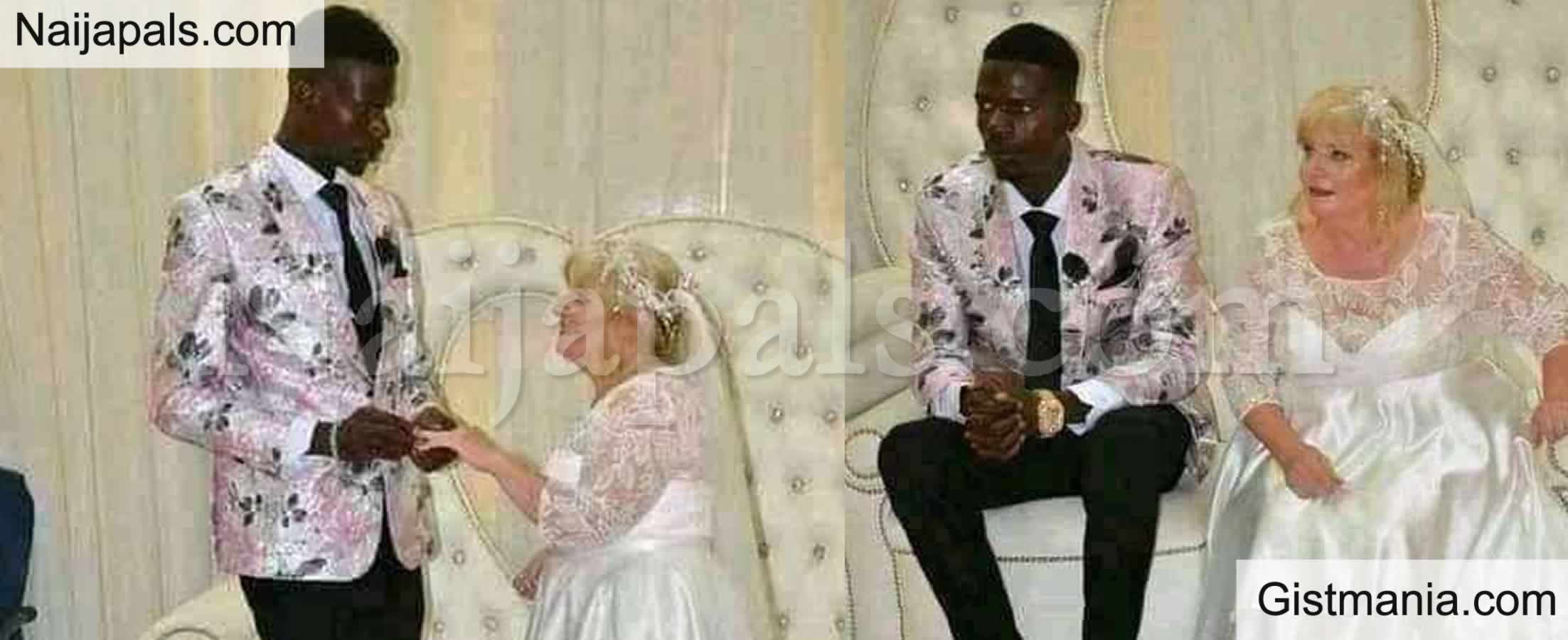 <img alt='.' class='lazyload' data-src='https://img.gistmania.com/emot/comment.gif' /> Reactions As <b>Nigerian Man Marries His Much Older White Lover in Style</b> (Photos)