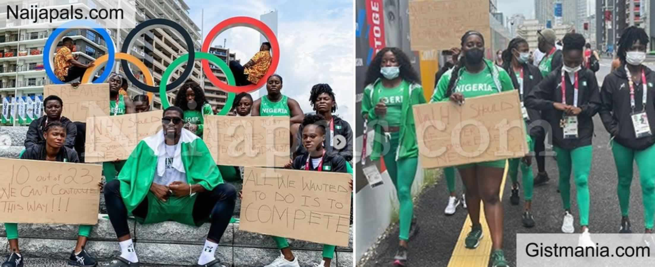 <img alt='.' class='lazyload' data-src='https://img.gistmania.com/emot/news.gif' /> Tokyo Olympics: <b>Disqualified Nigerian Athletes Storm The Streets Of Japan To Protest</b> (PHOTOS)