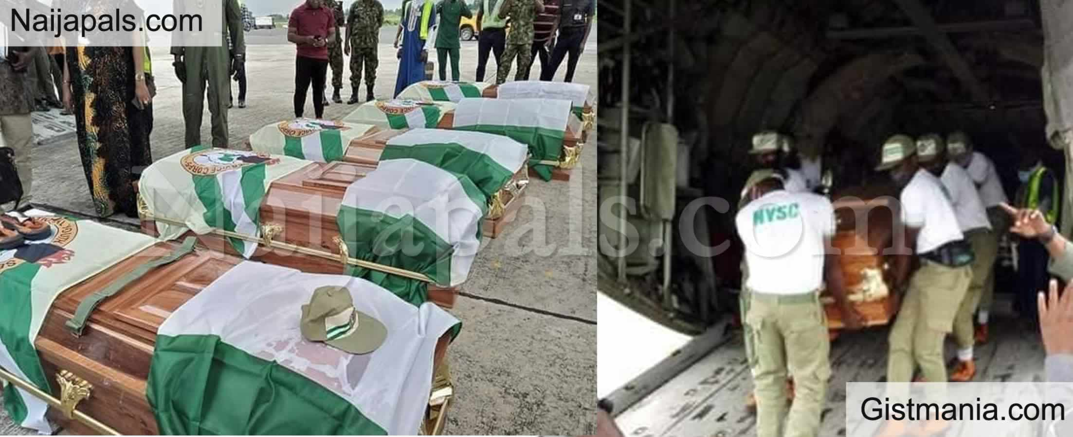 <img alt='.' class='lazyload' data-src='https://img.gistmania.com/emot/cry.gif' /> <b>Bodies Of 5 Corp Members Killed In An Accident On Their Way To NYSC Camp, Flown Back For Burial</b>