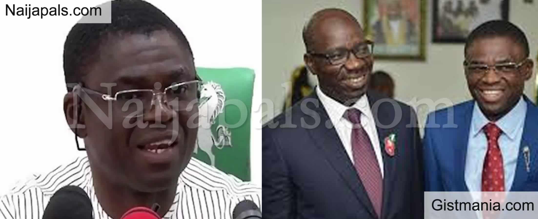 <img alt='.' class='lazyload' data-src='https://img.gistmania.com/emot/comment.gif' /> Edo Election: <b>Oshiomole, Ize Iyamu Plotting to Arrest Me</b> - Obaseki's Deputy Philip Shaibu