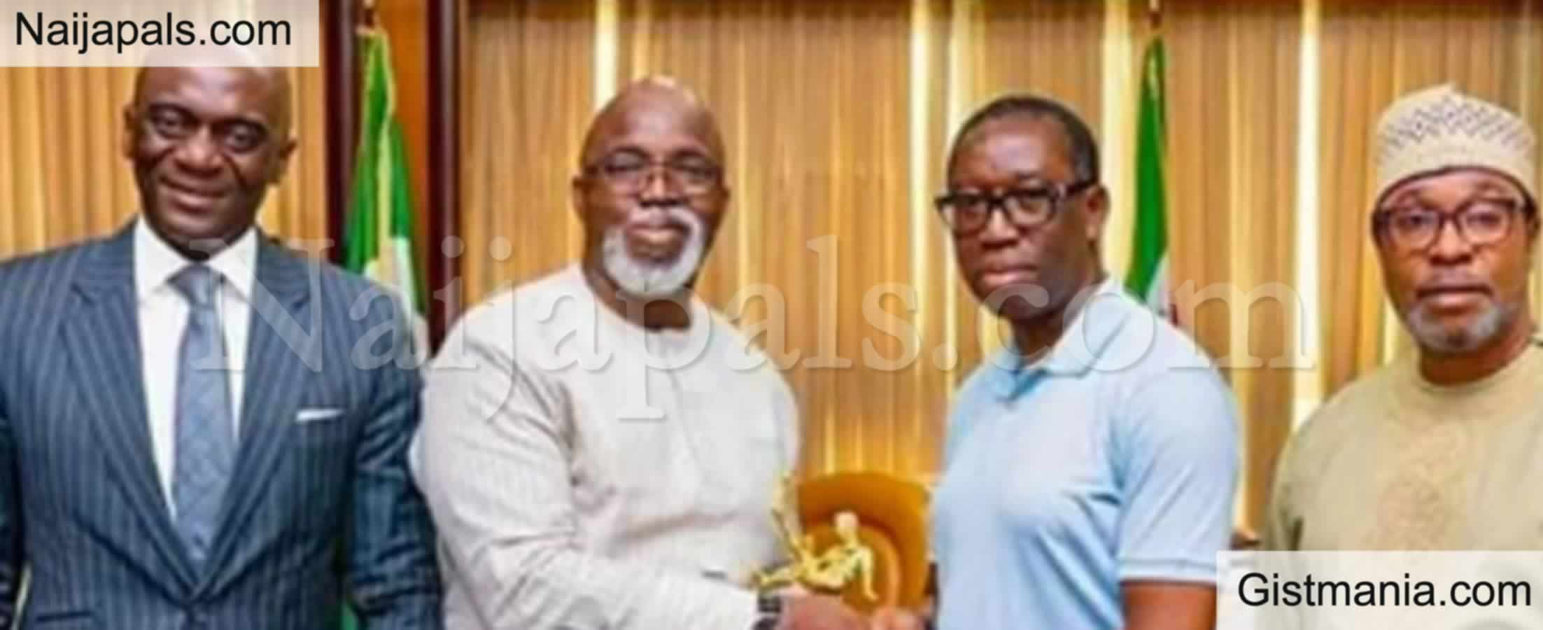 <img alt='.' class='lazyload' data-src='https://img.gistmania.com/emot/cake.png' /> <b>Delta Gov. Ifeanyi Okowa Celebrates NFF President, Amaju Pinnick As He Turns 50 Today</b>