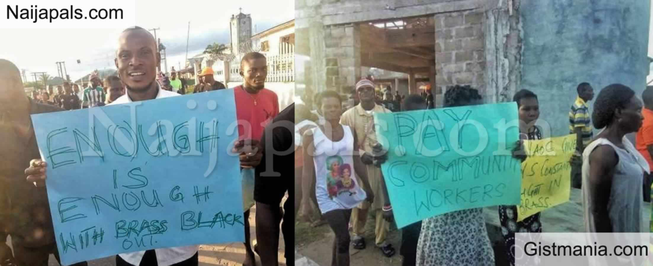 <img alt='.' class='lazyload' data-src='https://img.gistmania.com/emot/comment.gif' /> PHOTOS: <b>Tension As Protesters Storm Agip Oil Company Over Power Outage In Bayelsa</b>