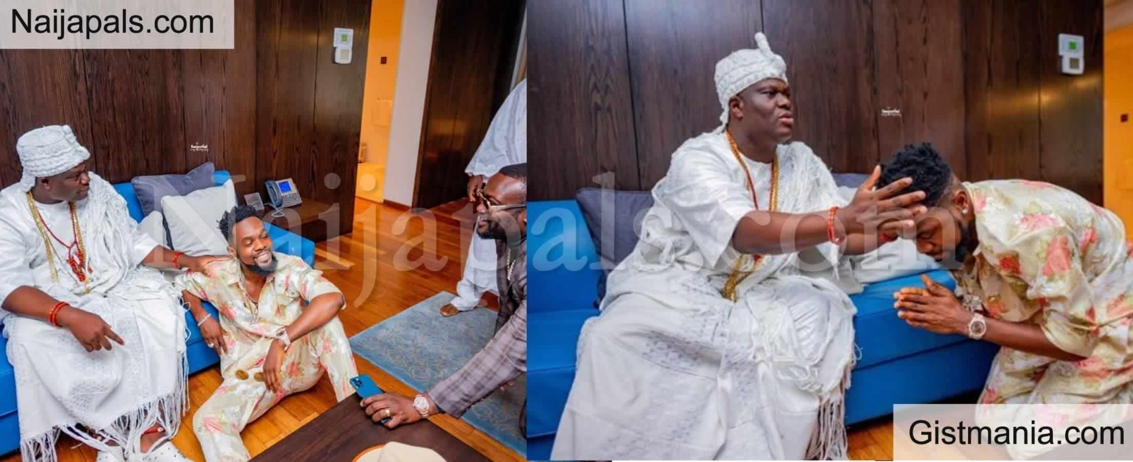 <img alt='.' class='lazyload' data-src='https://img.gistmania.com/emot/photo.png' /> PHOTOS: <b>Singer, Patoranking Pays Homage To Ooni Of Ife, Oba Adeyeye Ogunwusi</b>